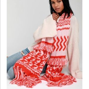 Free people mile high red print fringe scarf